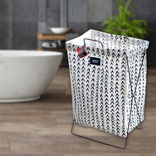 Кош за пране, дрехи с метална рамка Бял на тъмно сини орнаменти