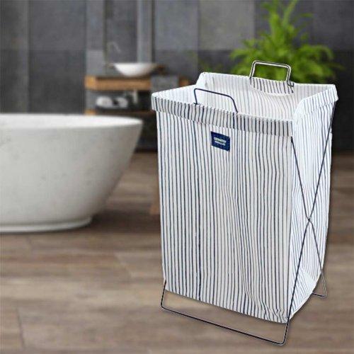 Кош за пране, дрехи с метална рамка Бял с тъмно сини тънки райета