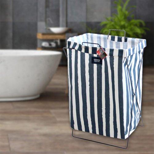 Кош за пране, дрехи с метална рамка Тъмно синьо и бяло райе