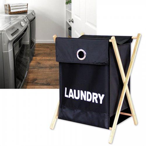 Кош за пране, дрехи с дървена рамка LAUNDRY Черен