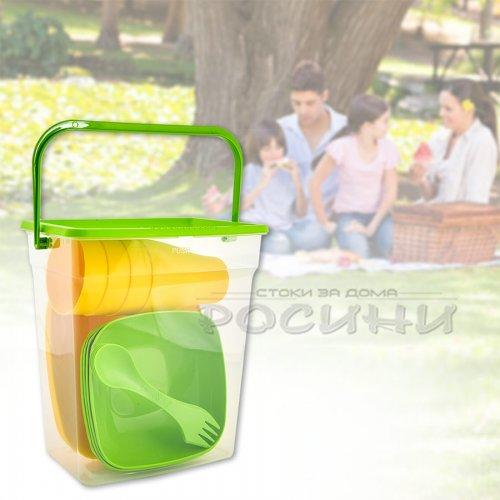 Комплект за пикник съдове и прибори в кутия Зелено/Жълто