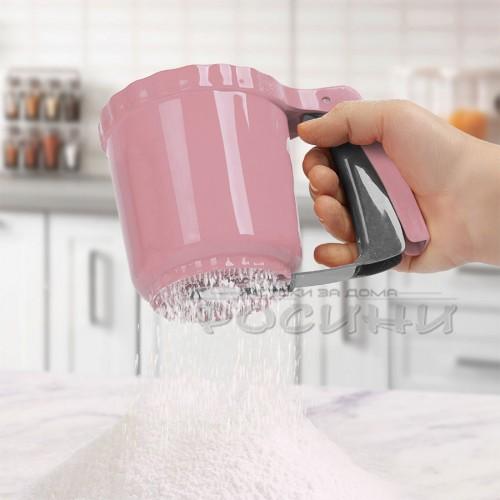Сито PVC за брашно и пудра захар с въртящ механизъм