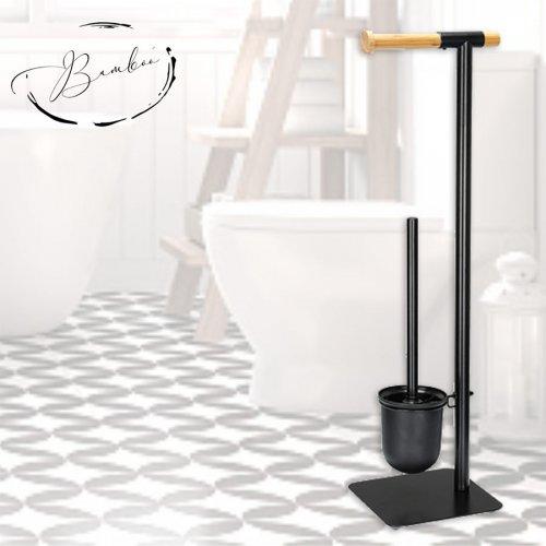 Комплект метална стойка за тоалетна хартия и WC четка Бамбук Модел 004