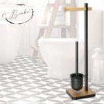 Комплект метална стойка за тоалетна хартия и WC четка Серия Бамбук Модел 005