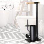 Комплект метална стойка за тоалетна хартия и WC  извита четка Бамбук Модел 002
