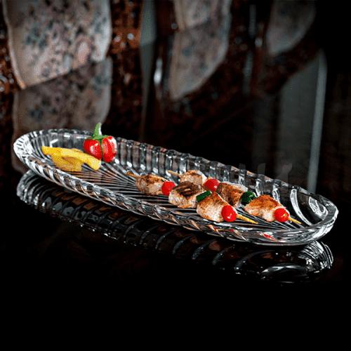 Стъклено плато за руло,козунак 16*40см/чиния за ордьоври
