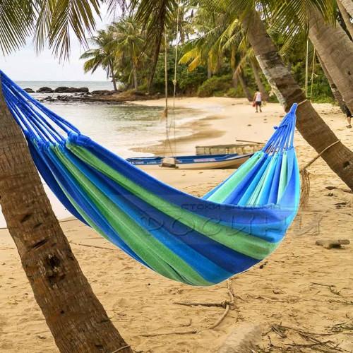 Цветен хамак памучно платно с чанта/Синьо-зелено райе