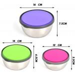 Комплект метални купи с цветни капаци 3 бр./кутии за съхранение на храна