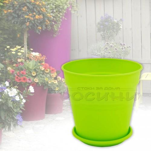 Саксия Глория с подложка Ф14,5х14см./светло зелен/