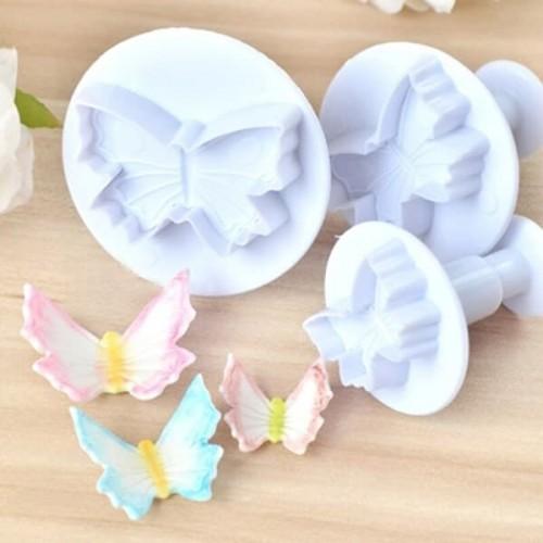 Комплект 3 бр. резци с бутало и печат големи Пеперуди/резци за фондан и тесто
