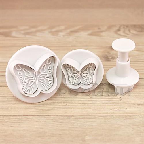 Комплект 3 бр. резци с бутало и печат малки Пеперуди/резци за фондан и тесто