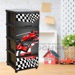 Детски пластмасов шкаф с 4 чекмеджета и декор Рали/черно и червено