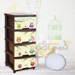 Детски пластмасов шкаф с 4 чекмеджета и декор СОВИЧКИ