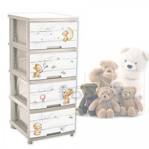 Детски пластмасов шкаф с 4 чекмеджета Мечета Бежов