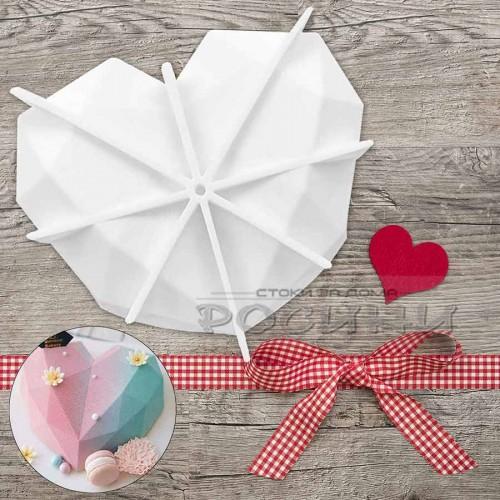 Силиконов молд 3D Диамантено сърце за торта, кейк 18 см/силиконова форма