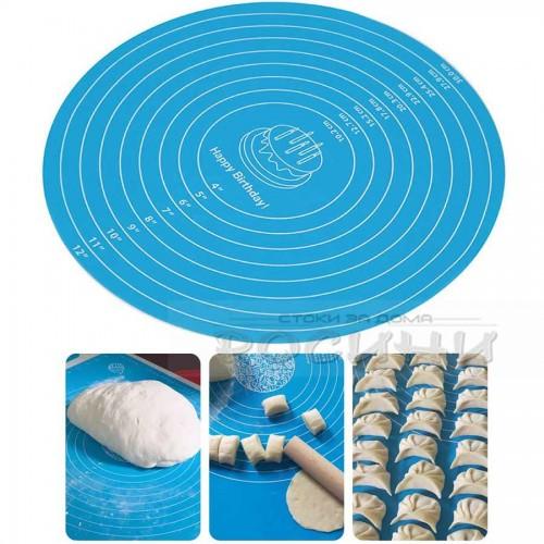 Кръгла силиконова подложка за торта, месене, точене, печене 30 см.