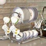 Метален сушилник за чинии S на два етажа с две странични поставки с една табла