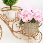 Метален цветарник Колело винтидж стил цвят старо злато