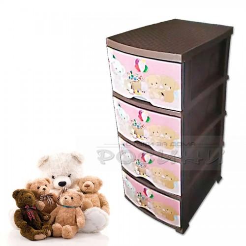"Пластмасов шкаф за детска стая за момиче ""Мечета"""