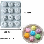 Силиконова форма за бисквити и бонбони с 12 мотива