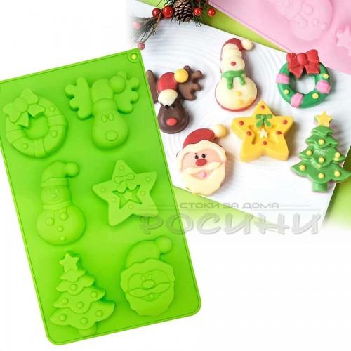 Силиконова форма за Коледни сладки, курабии, шоколад с декорация