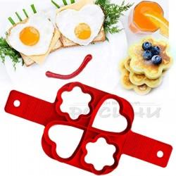 Силиконова форма за яйца и мини палачинки сърца и цветя 4 гнезда