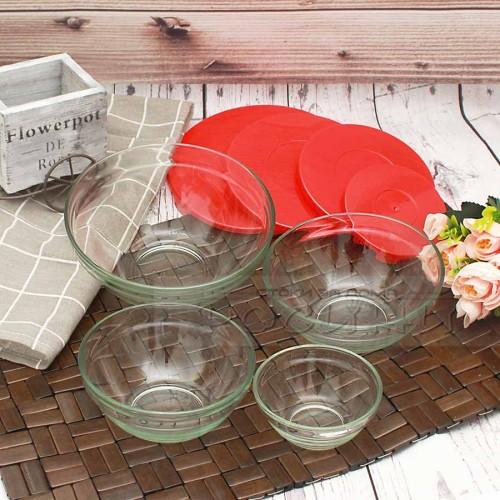Стъклени купи с капак 4бр./купа за съхранение на храна