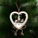 Дървена Коледна играчка за елха с еленче