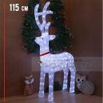 115 см. Голяма светеща фигура Коледен елен със звънчета