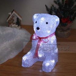 Коледна Светеща фигура 20см. Полярно мече с 20 LED лампички и 2 батерии