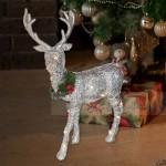 Коледна светеща фигура Сребрист елен 32 см.