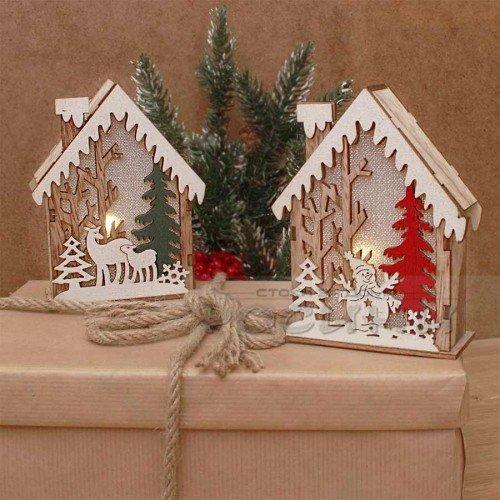 Коледна светеща къщичка с елха
