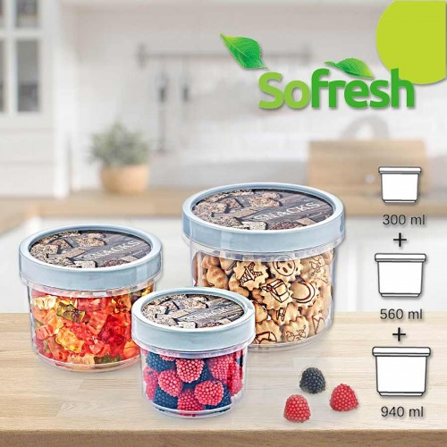 Комплект малки кутии за храна с винтов капак Sofresh Hobbylife/940+560+300мл.
