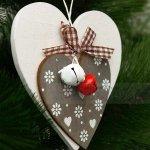 Дървена Коледна играчка за елха със звънчета