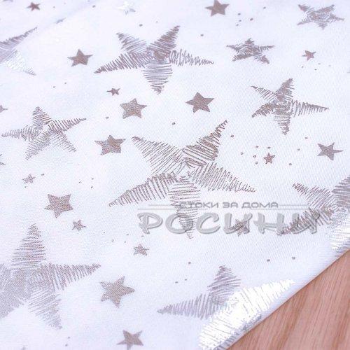 150/220 см. Коледна бяла покривка на звезди и елхички