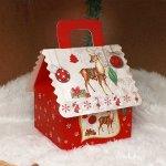 Коледна подаръчна кутия къщичка 16 см.