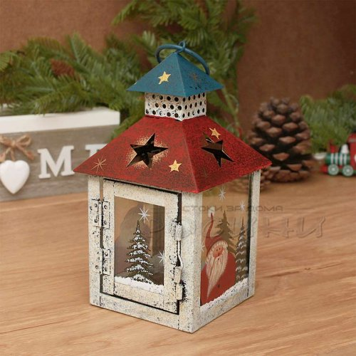 Метален Коледен червен фенер свещник