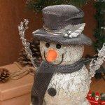 Коледна светеща фигура Снежко с бомбе 33 см.