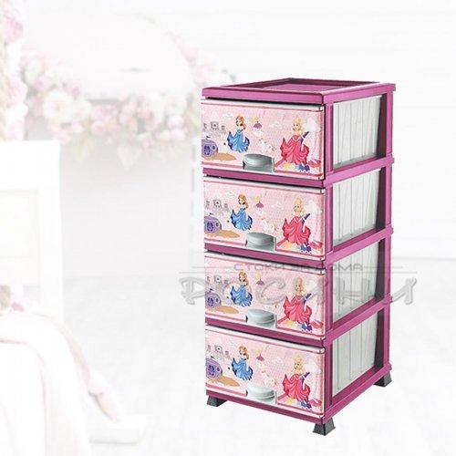 Детски пластмасов шкаф с четири чекмеджета Принцеси
