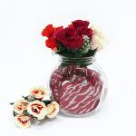 Декоративен букет розички с гипсофила/изкуствени цветя за декорация