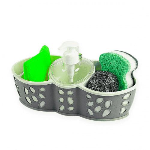 Органайзер за течен сапун и гъби/аксесоари за мивка-дозатор, поставка